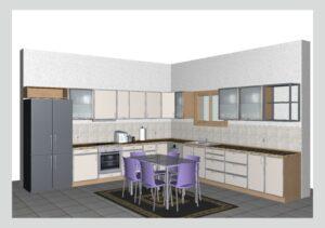 Γωνιακή Κουζίνα σε 3D απεικόνιση - Σχεδιαση Κουζινας