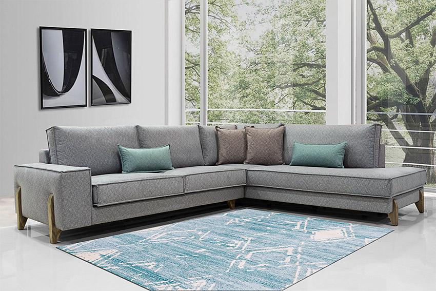 Γωνιακο σαλόνι με ξυλινα ποδια και αδιαβροχο υφασμα