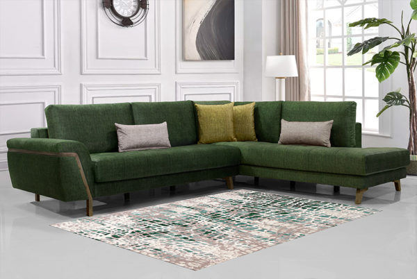 Γωνιακός καναπές με ξύλινη βάση - Κυπαρισσί χρώμα