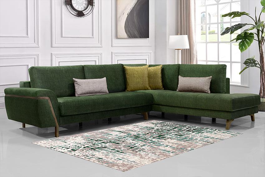 Καναπές γωνία-Σαλόνι-Κυπαρισσί χρώμα
