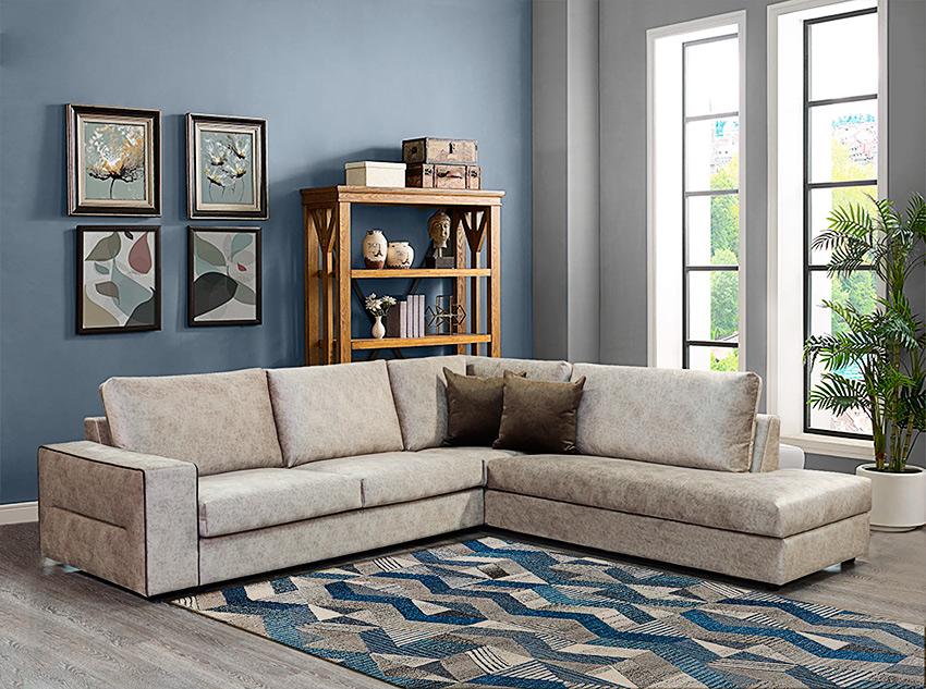 Καναπές γωνία με βελούδινο ύφασμα και διακοσμητικό φυτίλι