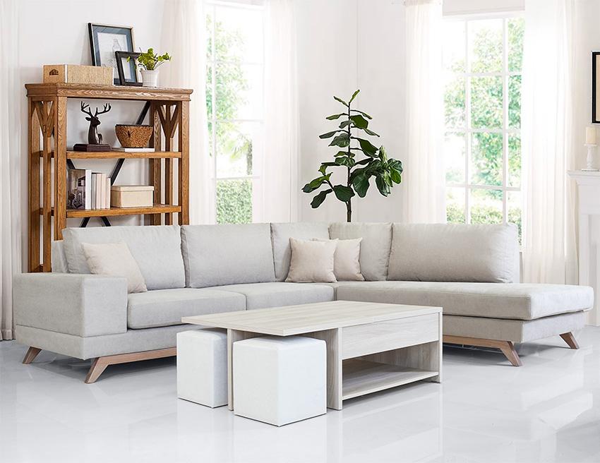 Καναπες γωνια με ξυλινη βαση μοντελο 2021