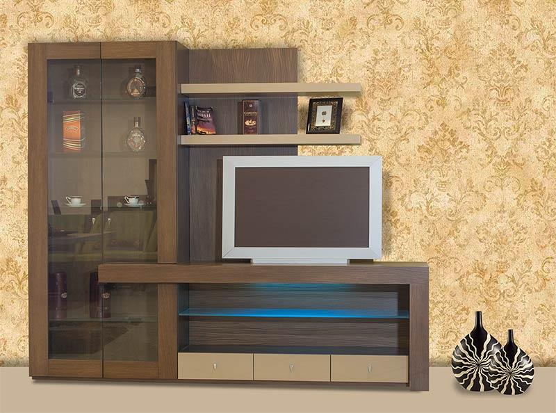 Σύνθεση τηλεόρασης μοντέρνος σχεδιασμός σε ξύλο δρυ