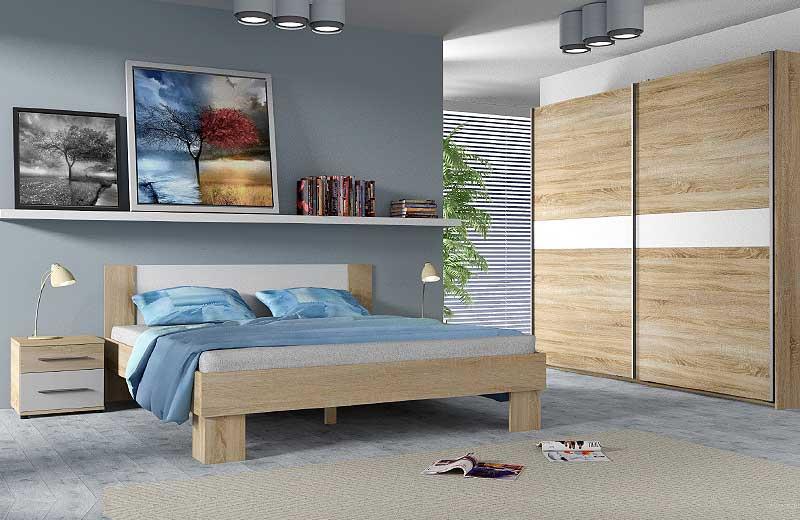 Κρεβάτι με Δυο Κομοδίνα