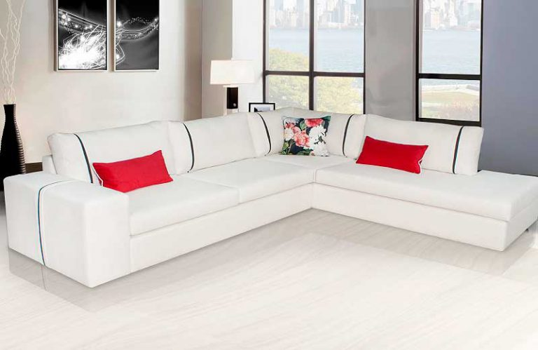 Μοντέρνο σαλόνι γωνία σε λευκό χρώμα