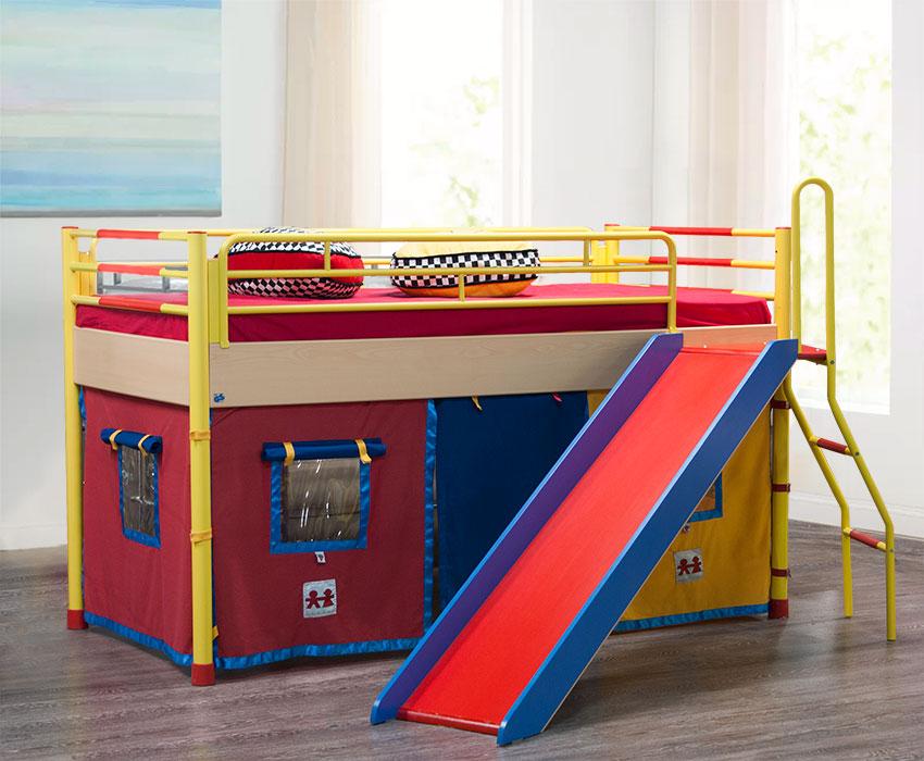 Έπιπλο Καπατζά Κρεβάτι παιχνιδόσπιτο με τσουλήθρα