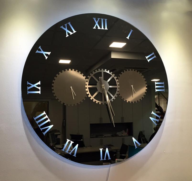 Καθρέπτης Ρολόι Χειροποίητος με φωτισμό Led
