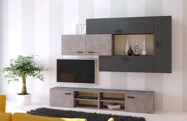 Μοντέρνα σύνθεση τηλεόρασης με όψη τσιμέντου και ανθρακί