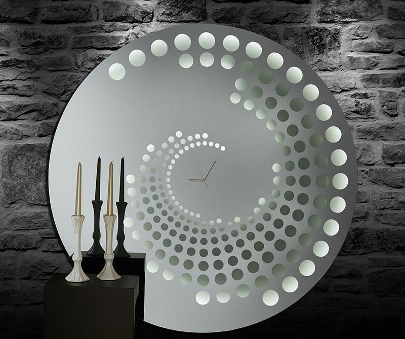 Καθρέπτης Ρολόι Φυμέ Χειροποίητος με φωτισμό Led