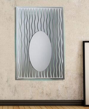 Ορθογώνιος καθρέπτης τοίχου με τεχνοτροπία και φωτισμό Led