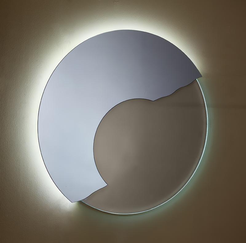 Καθρέπτης Στρογγυλός Χειροποίητος με Τεχνοτροπία και φωτισμό Led