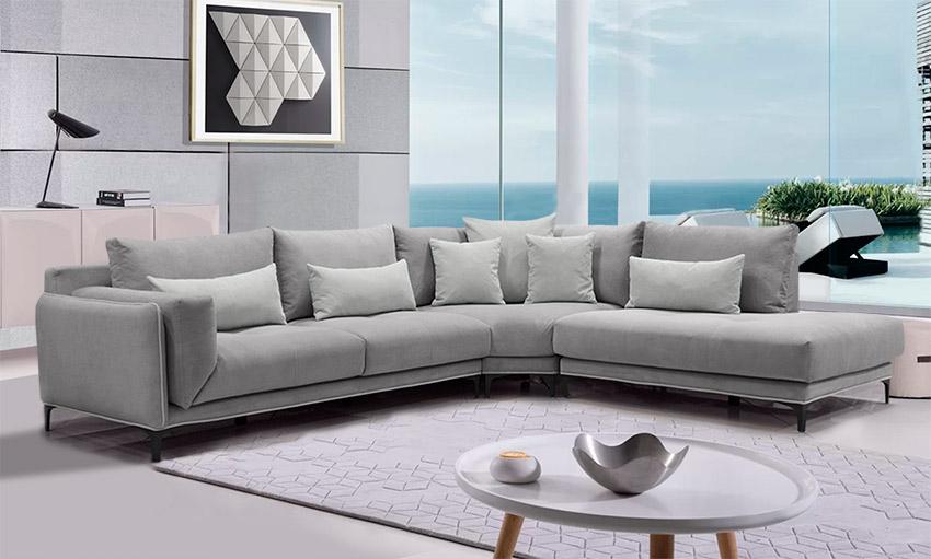 Καναπές γωνία με γαλλικό φυτίλι στο σαλόνι ενός εξοχικού-Σαλόνια Έπιπλο Καπατζά