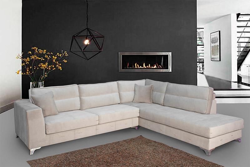 Καναπές Γωνία με Inox Πόδια