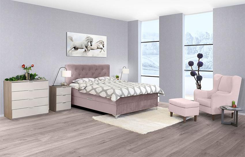 Κρεβατι-με-διπλο-αποθηκευτικο-χωρο-ροζ-χρωμα