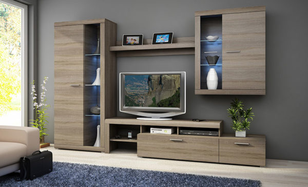 Σύνθεση τηλεόρασης με led σε μοντερνο δωματιο