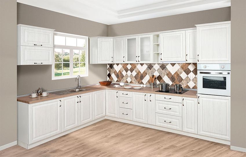 Ρουστικ κουζινα λευκο χρωμα σε mdf