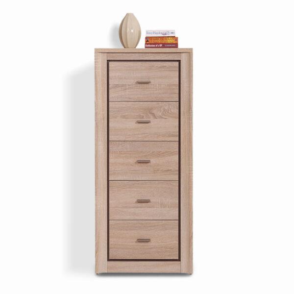 Συρταριέρα με 5 Συρτάρια σε Φυσικό Χρώμα