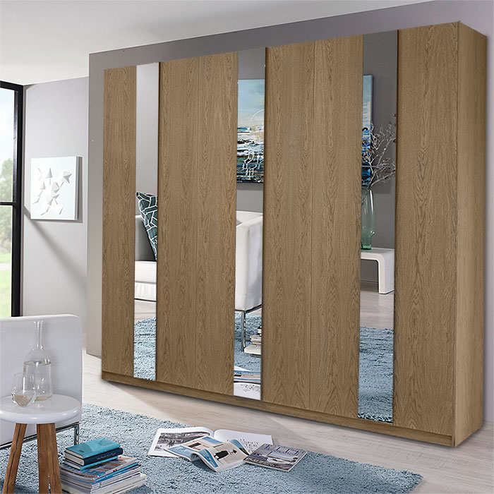 Ανοιγόμενη ντουλάπα εξάφυλλη με μπρονζέ καθρέπτη
