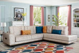 Γωνιακός καναπές με μεταλλικά πόδια