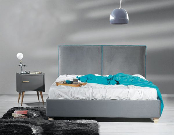 Κρεβάτι ντυμένο υπέρδιπλο με βελουτέ ύφασμα Έπιπλο Καπατζά