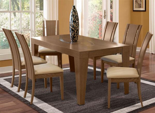 Μοντέρνα τραπεζαρίασε ξύλο δρυόςμε 6 καρέκλες Έπιπλο Καπατζά