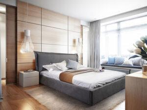Μοντέρνο κρεβάτι ντυμένο με αδιάβροχο ύφασμα Έπιπλο Καπατζά