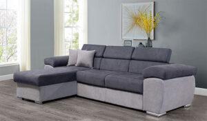 Γωνιακός καναπές κρεβάτι με προσκέφαλα