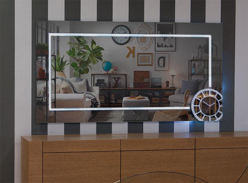 Χειροποίητος καθρέπτης τοίχου ρολοϊ με φωτισμό Led