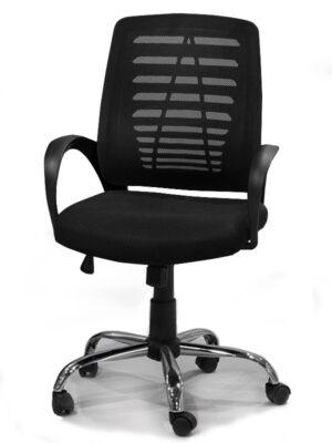 Καρέκλα γραφείου με inox πόδια σε μαύρο χρώμα Έπιπλο Καπατζά