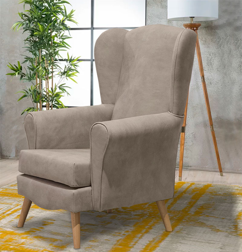 Νεοκλασική πολυθρόνα σαλονιού μπεζ χρώμα Έπιπλο Καπατζά