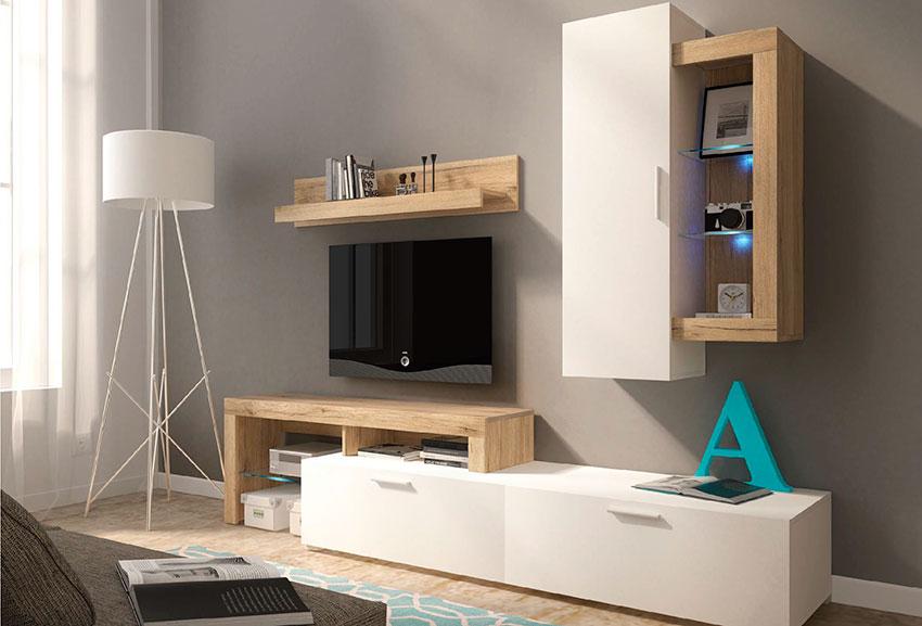 Μοντέρνο σαλόνι που δείχνει μια σύνθεση τηλεόρασης σε φυσικό χρώμα με high gloss