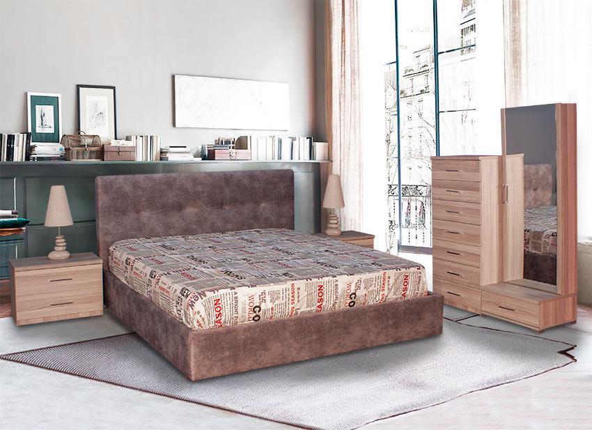 Υπνοδωμάτιο με Σετ κρεβατοκάμαρας με ντυμένο κρεβάτι Έπιπλο Καπατζά