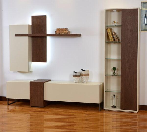 Δωμάτιο με Σύνθεση τηλεόρασης σε Δρυ με led φωτισμό