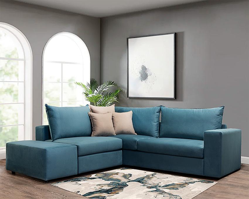 Γωνιακός καναπές πολυμορφικός σε πετρόλ χρώμα – Έπιπλο Καπατζά