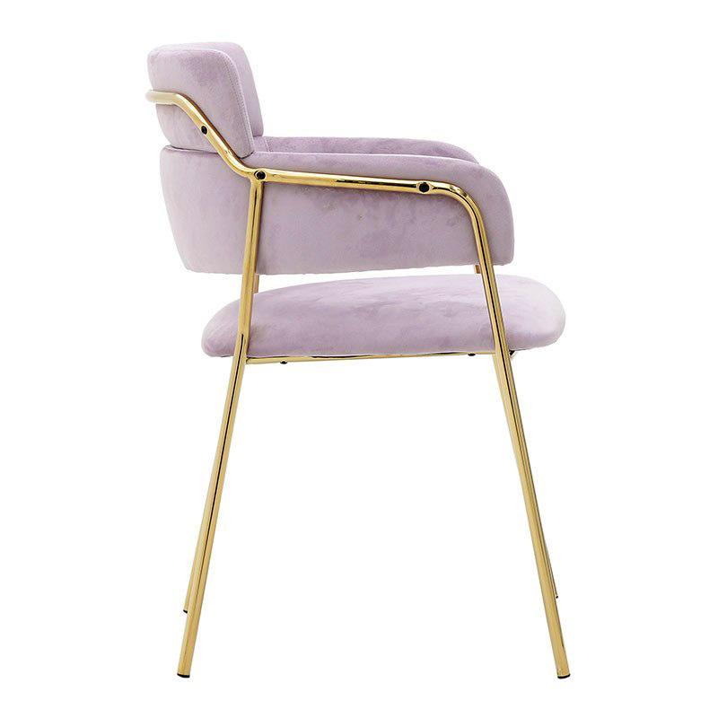 Καρέκλα τραπεζαρίας με μεταλλικά πόδια και βελούδινο κάθισμα σε ροζ χρώμα πλάγια όψη