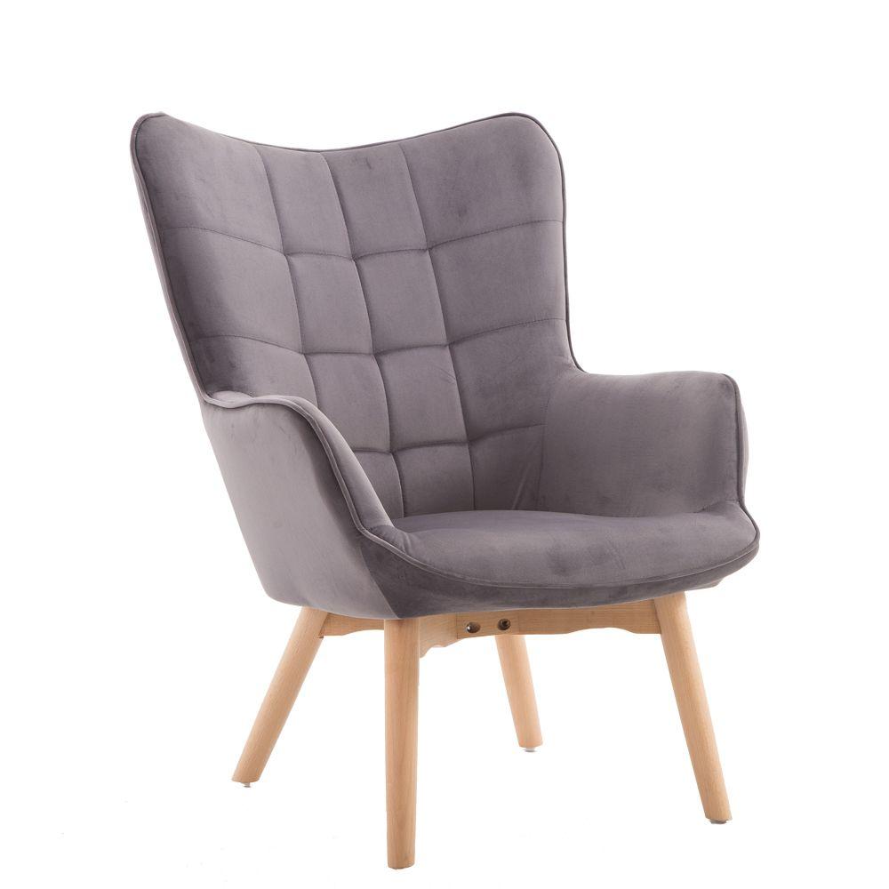 Πολυθρόνα σαλονιού με βελούδινο ύφασμα σε γκρι χρώμα