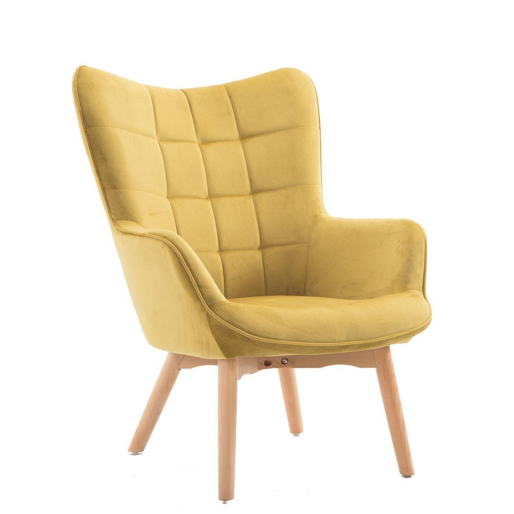 Πολυθρόνα σαλονιού με βελούδινο ύφασμα σε κίτρινο χρώμα