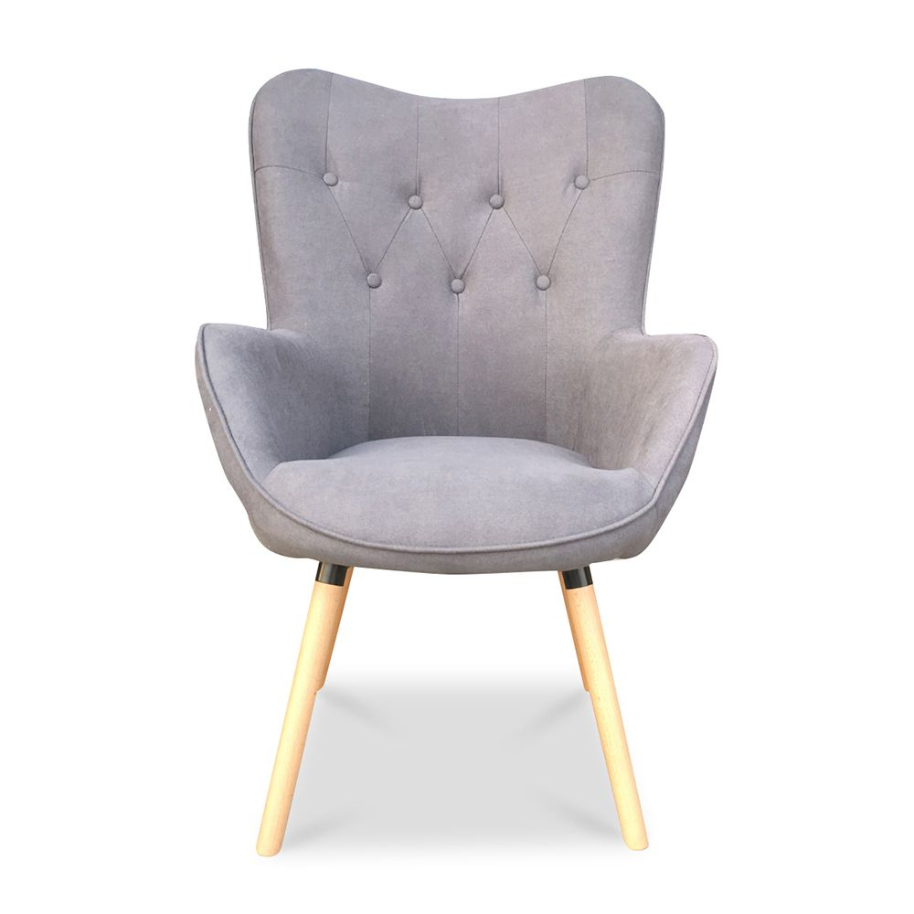 Πολυθρόνα υφασμάτινη σε γκρι χρώμα με καπιτονέ πλάτη
