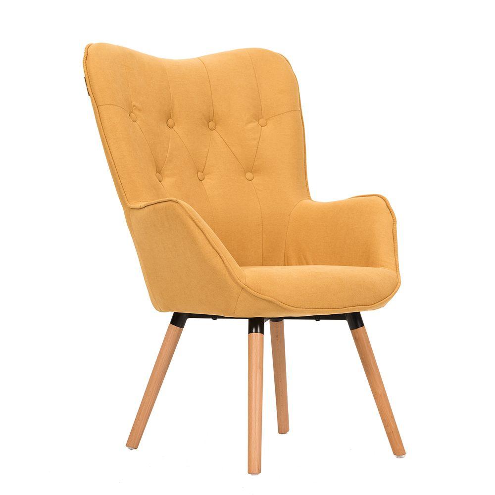 Πολυθρόνα υφασμάτινη σε κίτρινο χρώμα με καπιτονέ πλάτη