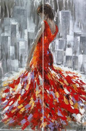 Ελαιογραφία Γυναικεία Φιγούρα σε φύλλο αλουμινίου με gloss