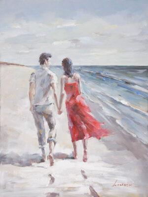 Ελαιογραφία Περίπατος στην παραλία