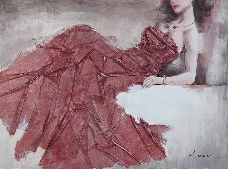 Κόκκινο-Φόρεμα-Ελαιογραφία-3D-με-ύφασμα-Διασταση-90X120
