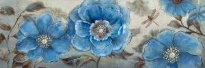 Πίνακας Λουλούδια σε ασημένιο καμβά με strass