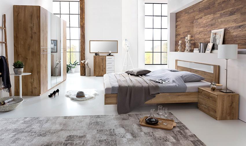 Μοντέρνο σετ κρεβατοκαμαρας-Ντουλαπα με καθρεπτη-Διπλο κρεβατι