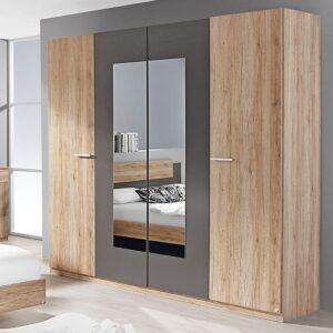 Τετράφυλλη ντουλάπα με καθρέπτη