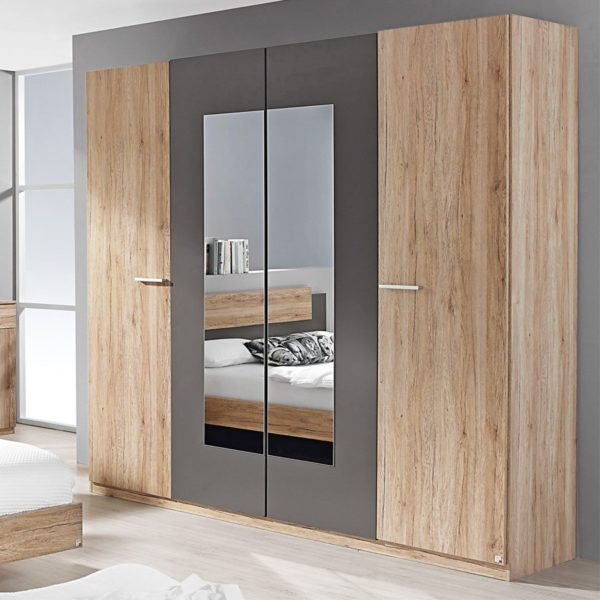 Ανοιγομενη τετραφυλλη ντουλαπα με καθρεπτη