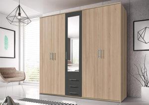 Πεντάφυλλη ντουλάπα με 3 συρτάρια