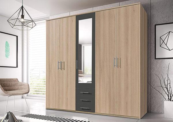 Πεντάφυλλη ντουλάπα με καθρέπτη και 3 συρτάρια